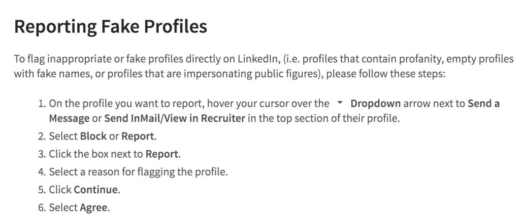 Жалоба на аккаунт в LinkedIn