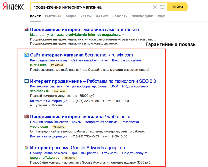 Гарантийные показы, Яндекс.Директ