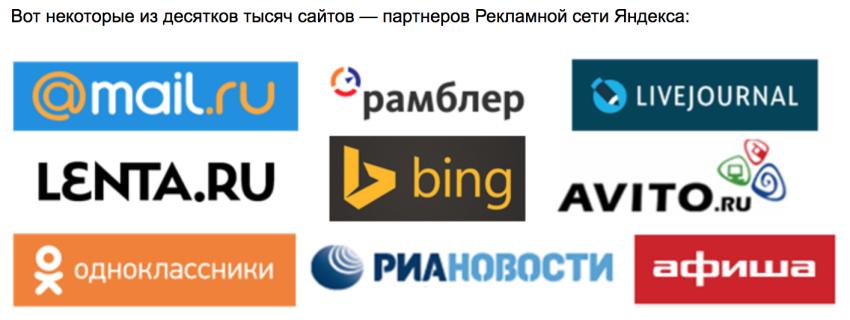 Рекламная сеть Яндекса, партнеры