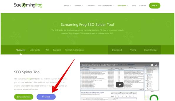 кнопка «Загрузить» на сайте Screaming Frog