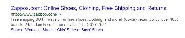 Слова «shoes», «Women's Shoes» и «Boys' shoes» сразу дают пользователю представление о содержимом магазина