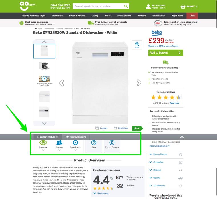 Пример оптимизации страницы с сайта AO.com