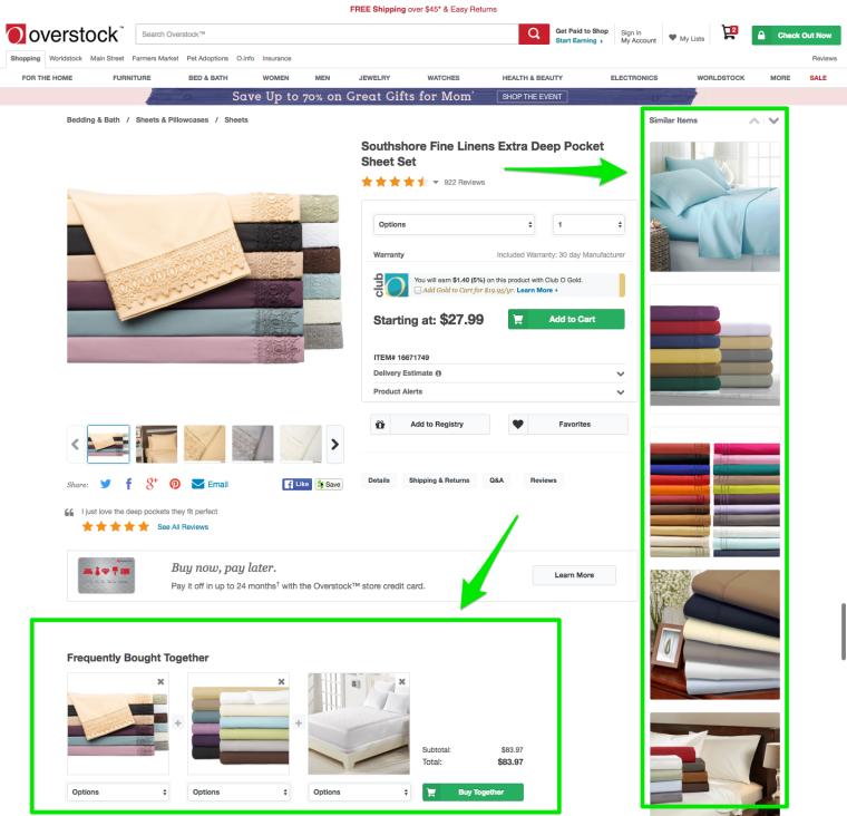 Пример перелинковки страницс сайта Overstock