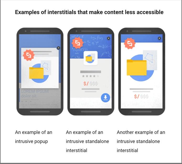 Пример всплывающих окон и промежуточных страниц, которые делают контент менее доступным