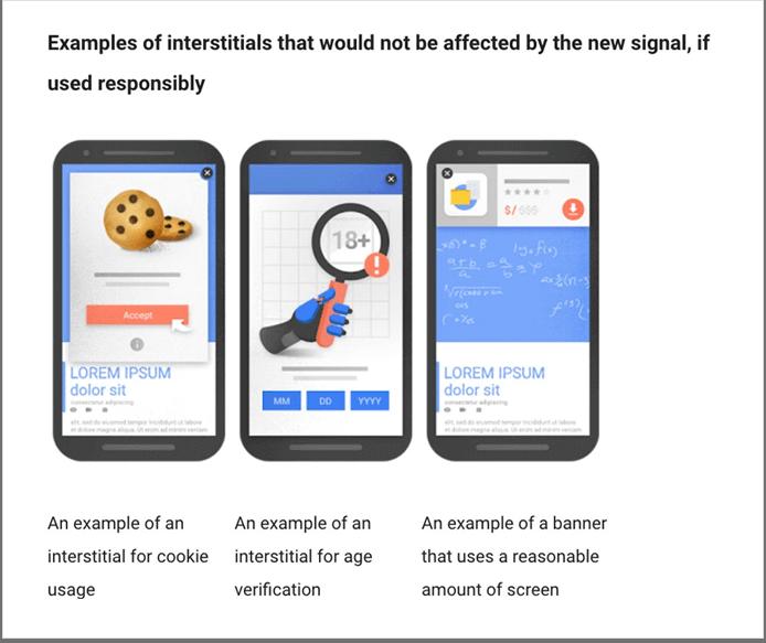 Пример всплывающих окон и промежуточных страниц, которые при правильном использовании не мешают пользователю взаимодействовать с контентом