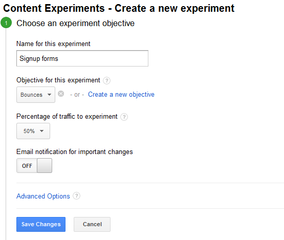 Create a new experiment в Google Analytics