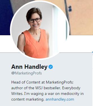 биография Энн Хэндли в Твиттер