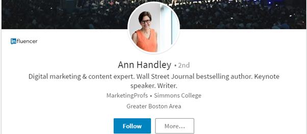 биография Энн Хэндли в LinkedIn