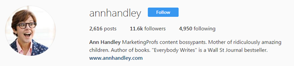 биография Энн Хэндли в Instagram