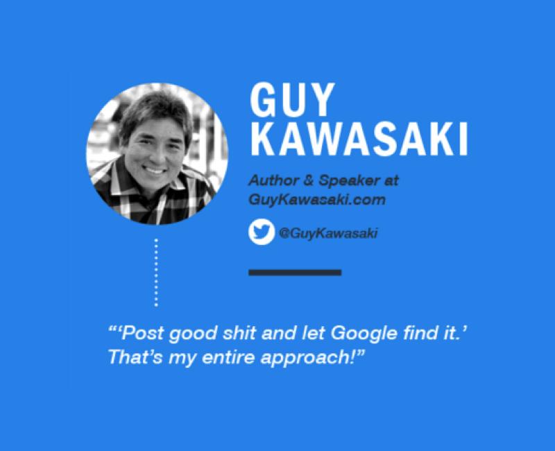 «Запостите хорошее дерьмо и пусть Google найдет его. ВОт весь мой подход», Гай Кавасаки