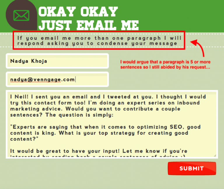 Письмо для Нила Патела, отправленное через форму обратной связи на Quicksprout