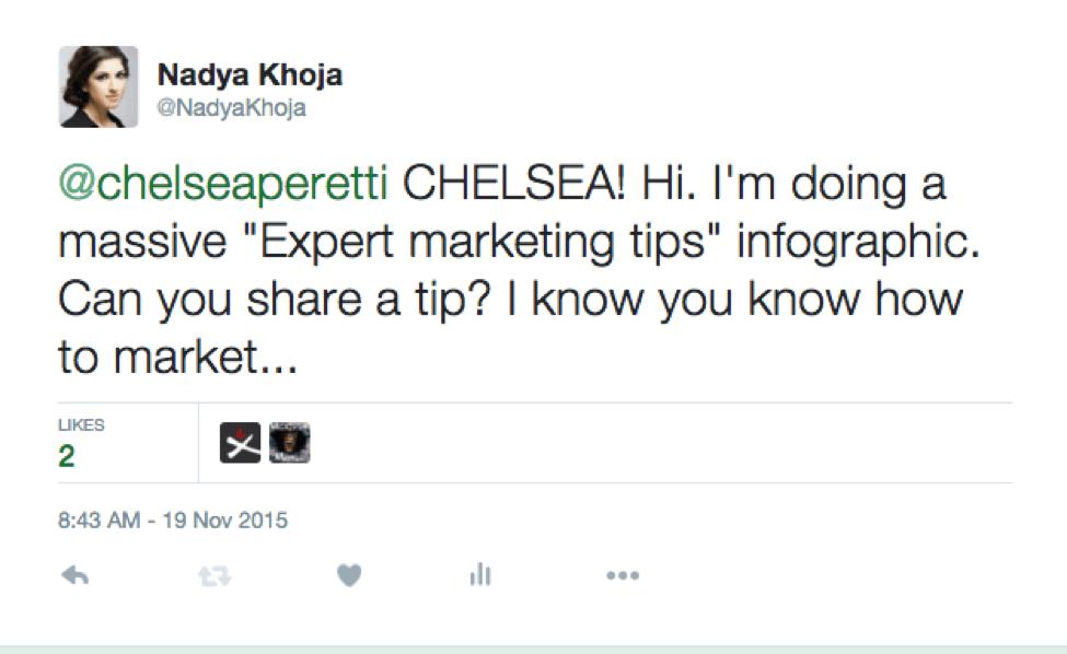 Попытка связи с Челси Перетти через Twitter